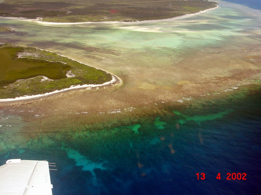 Aerial view of fringing reef at the northern part of the island