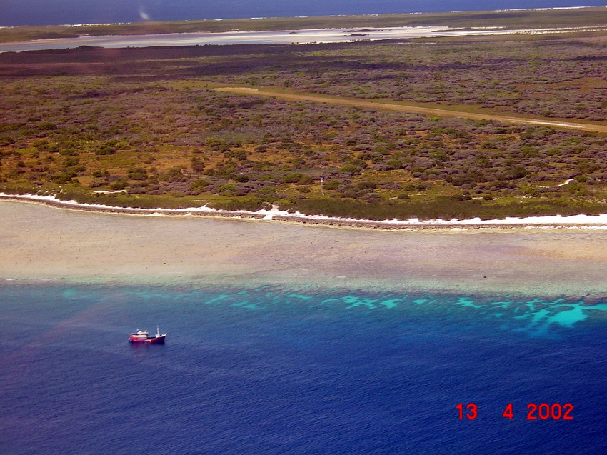Aerial view of fringing reef