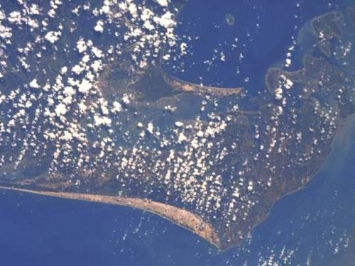 Jaffna Peninsula and Lagoon, northern tip of Sri Lanka.  North is at approximately 5:00.