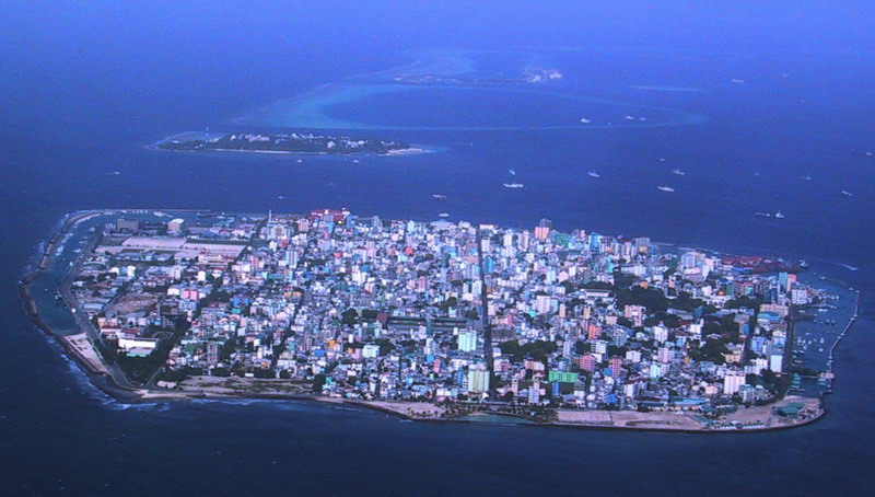 Capital of Maldives on Male Island, showing complete urban develop of the entire island.