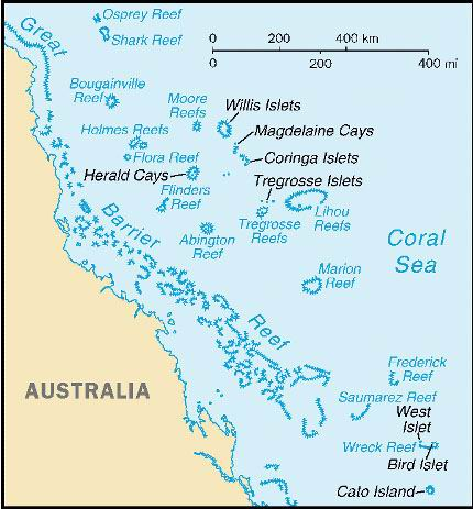Australia, Coral Sea Islands, Small Map