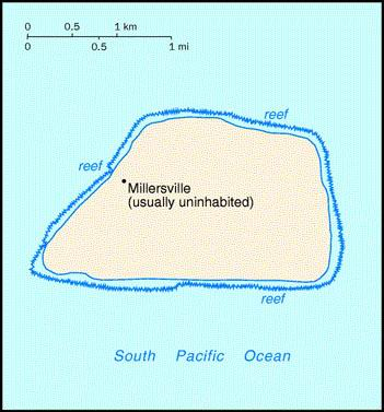 Jarvis Island. Small Map.
