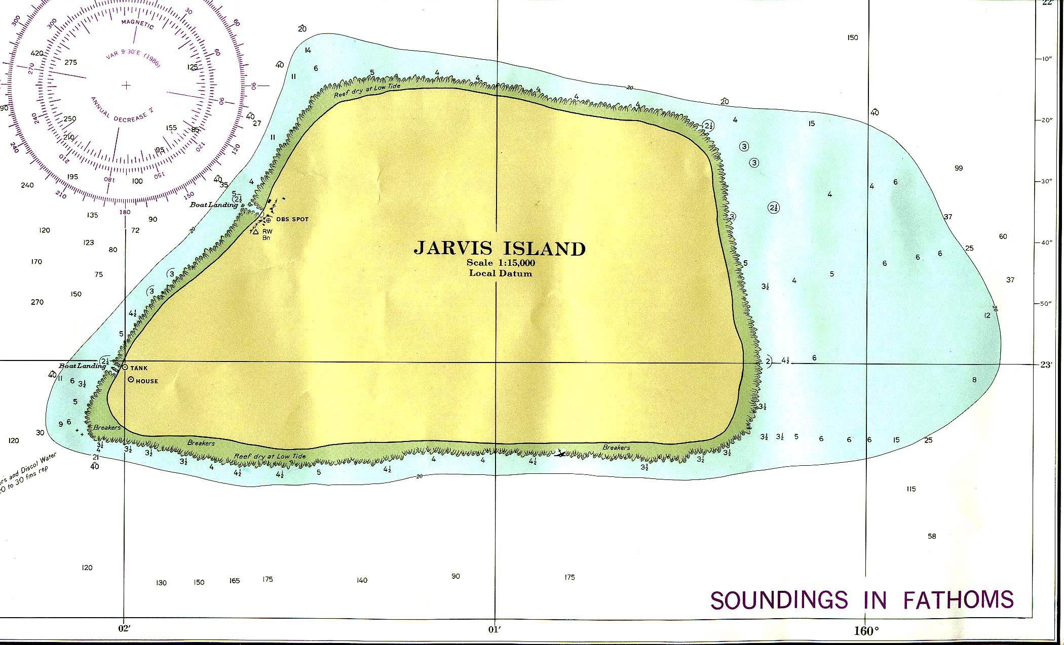 Jarvis Island. Nautical char. Not for navigational use