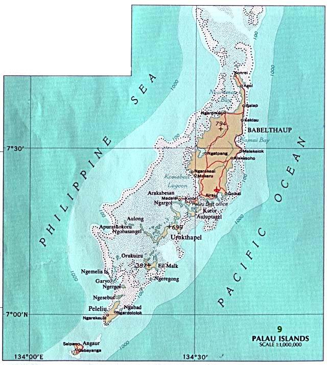 Palau From the U.S. National Atlas 1970