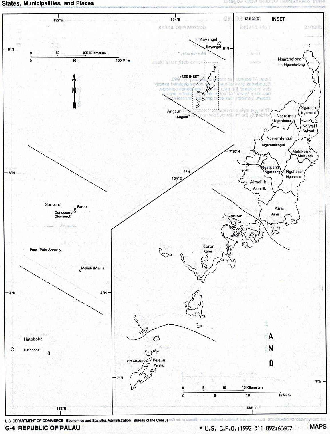 Palau (Outline Map) U.S. Bureau of the Census 1990