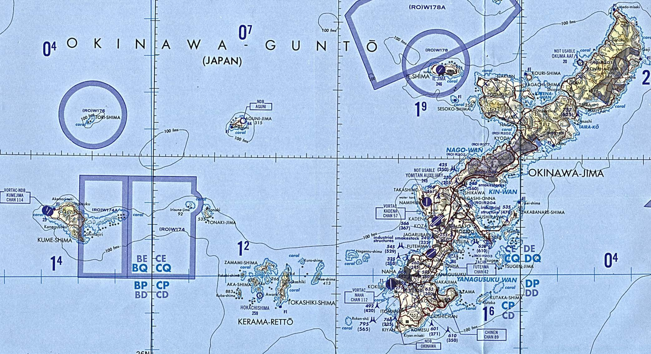 Okinawa - Tactical Pilotage Chart original scale 1:500,000. Portion of National Imagery and Mapping Agency TPC H-13D 1998 Not for navigational use
