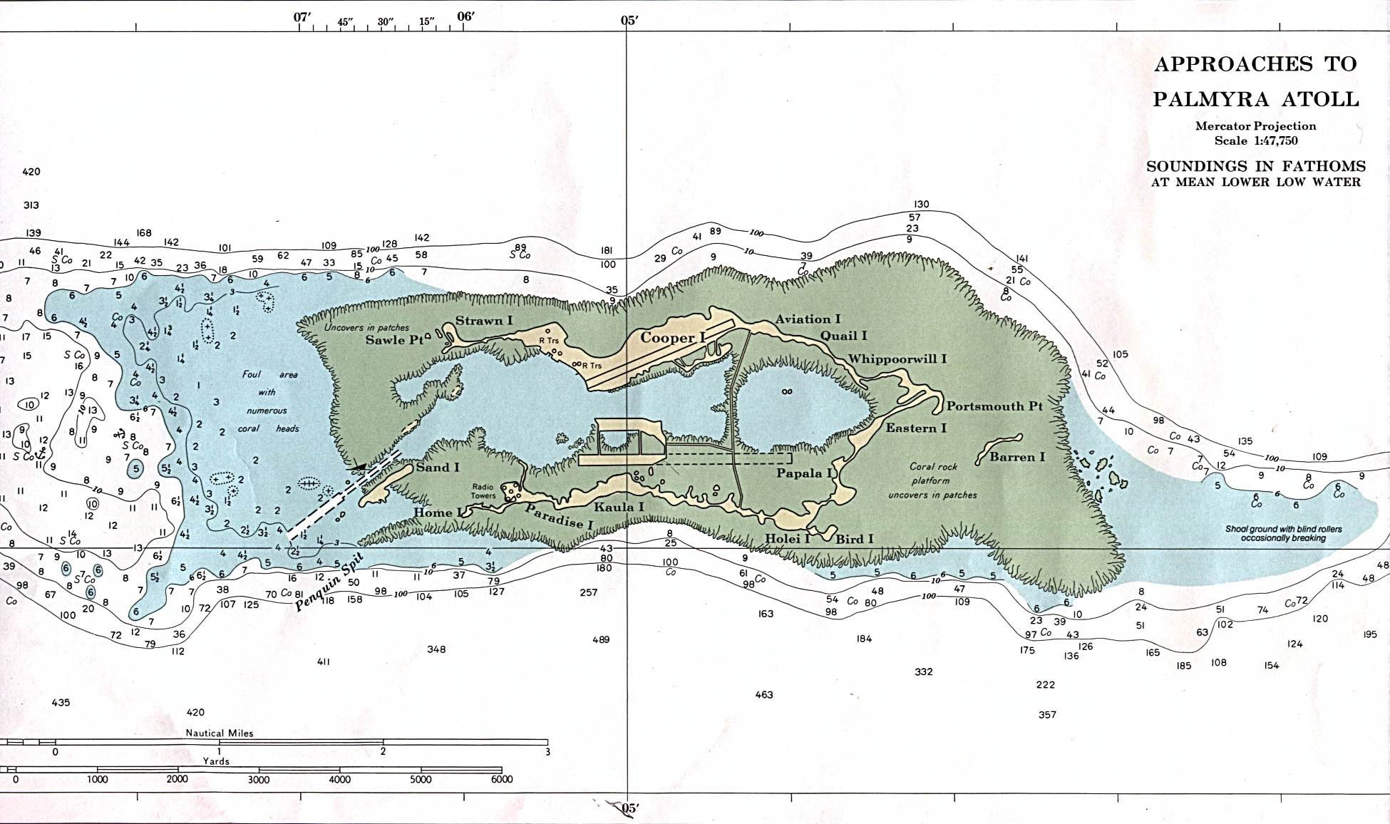 Palmyra Atoll (U.S.) (Nautical chart) original scale 1:47,750 N.O.A.A. 1991. Not for navigational use