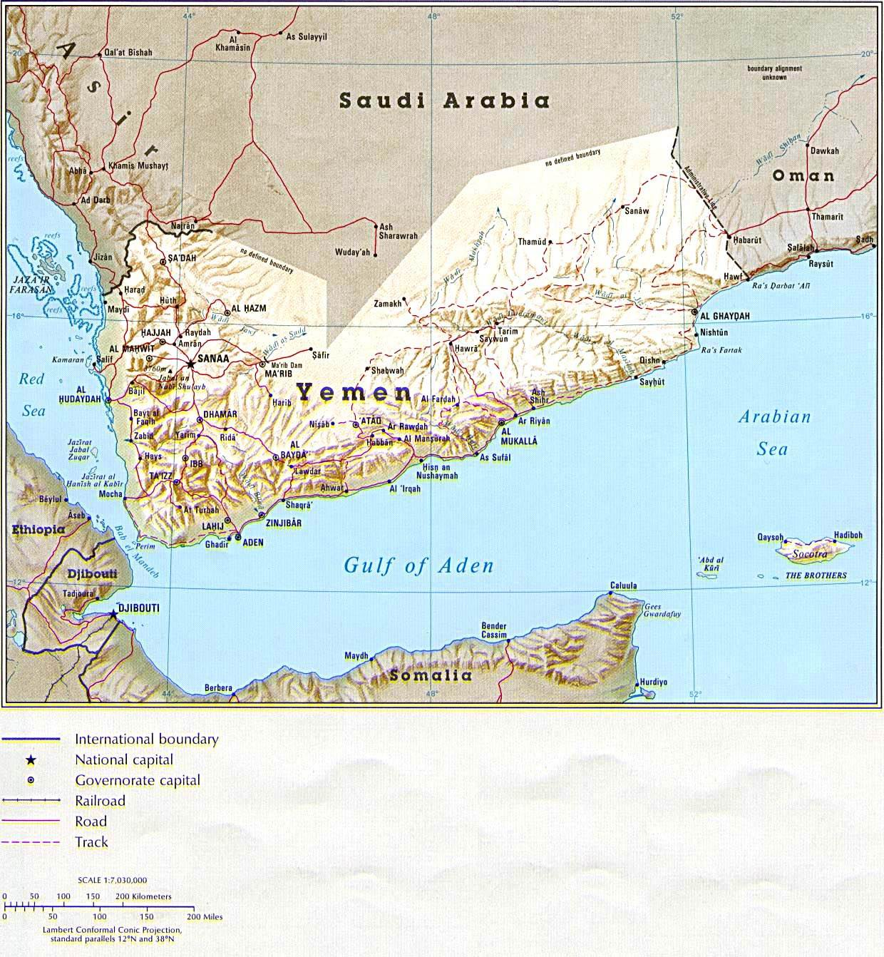 Yemen (Shaded Relief) From the CIA Atlas of the Middle East, 1993