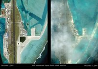 Male International Airport before and after tsunami.