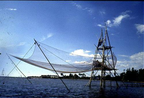 A traditional Bagan liftnet for catching shoaling clupeids and atherinids.