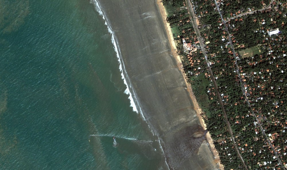 Kalutara Beach Detail (Receding waters and beach damage from tsunami). (December 26, 2004).