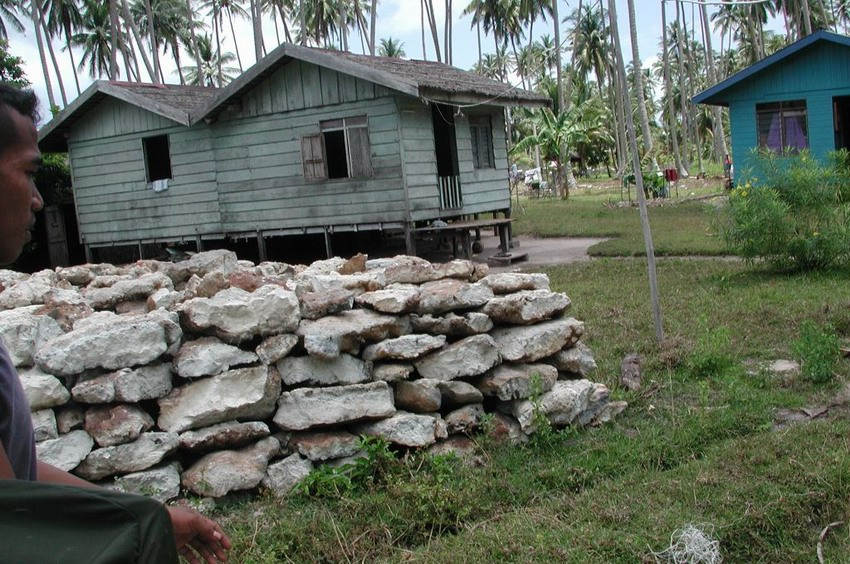 Coastal village of Pulau Panjang showing wall constructed from coral